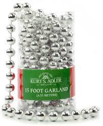 kurt adler halloween kurt alder 15 u0027 silver bead christmas garland the christmas loft