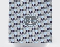 Navy And Coral Shower Curtain Nautical Shower Curtain Etsy