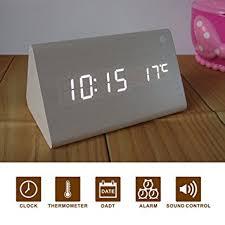 horloge de bureau design novome moderne imitation bois horloge de bureau alarme led horloge