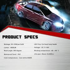 nissan sentra headlight bulb size novsight h7 led headlight kit fog light bulbs white 6000k 80w