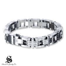 mens black link bracelet images Kay men 39 s link bracelet diamond accent stainless steel jpg