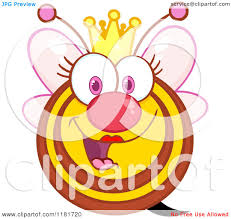 cartoon of a happy queen bee with pink wings and a crown royalty