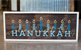 happy hanukkah signs framed wood sign ar workshop gallery
