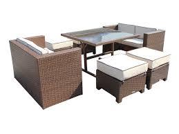Barcelona Sofa Cube Set Including Footstools Black - Rattan furniture set