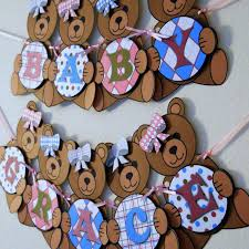 teddy decorations teddy baby shower banner party decorations custom words 10