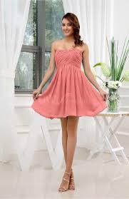 short coral bridesmaid dress with strapless neckline elite
