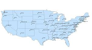 united states map with longitude and latitude cities assignment three