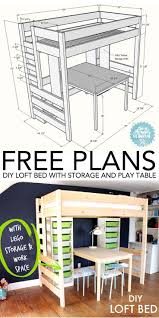 diy loft bed with desk and storage play table loft beds kids