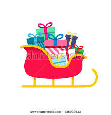 santa sleigh for sale santa sleigh gifts isolated on white stock vector 536902633