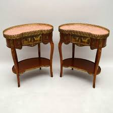 french style side table pair of antique french style marble top side tables 1950 to 1959