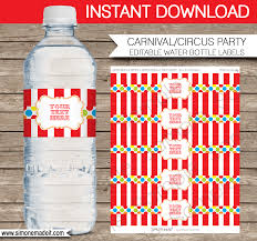 carnival party water bottle labels circus party decorations