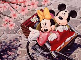 desktop background mickey mouse halloween romantic mickey mouse and minnie mouse japanese cherry blossom