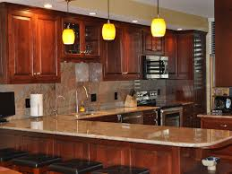 traditional kitchen with brown lowes granite countertop design