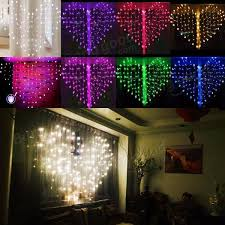valentines day lights 128 led heart shape fairy string curtain light s day