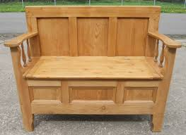Bench Storage Seat Pine Settle Bench Storage Box Seat Sold With Regard To Decor