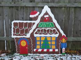 Christmas Outdoor Wood Decorations by Christmas Santa U0027s Gingerbread House Wood Outdoor Village Piece
