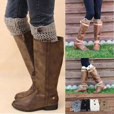 womens size 12 boot socks for winter leg warmers button crochet