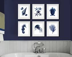 Sea Turtle Bathroom Accessories Coastal Wall Decor Navy Blue Wall Art Set Of 4 Beach Decor