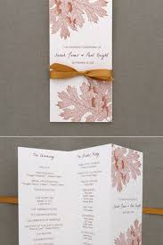 folded wedding program program template tri fold fall leaves print