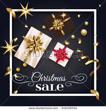 New Years Decoration Sale by Christmas Black Greeting Card Gift Box Stock Vector 542425558