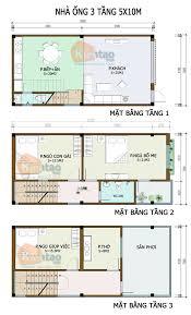 design a house plan thiết kế kiến trúc nhà ống 3 tầng 5x10m cách phân bổ công năng