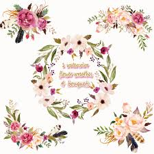 wedding flowers png 1 watercolor flower wreathes 4 flower bouquets floral frame png