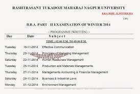 rtmnu bba 2nd year time table winter 2014 nagpur