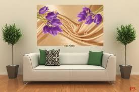 mural purple tulips of a beige silk with butterflies wall mural purple tulips of a beige silk with butterflies