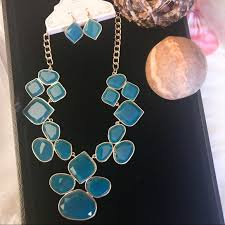 blue fashion necklace images Jewelry blue fashion necklace with earrings poshmark jpg