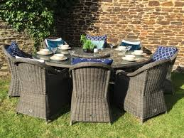 Grey Rattan Outdoor Furniture by Venice 8 Seat Grey Oval Table With Carver Armchairs Oakita Rattan