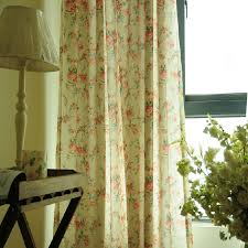 floral beige linen shabby chic curtains