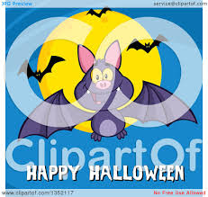 clipart of a cartoon flying purple vampire bat over happy