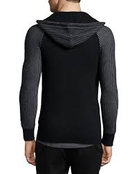 helmut lang zip front hooded cashmere sweater in black for men lyst