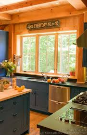 blue kitchen cabinets in cabin log home kitchens pictures design ideas