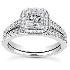 princess cut wedding set 1 1 2 carat princess cut halo engagement and wedding ring set