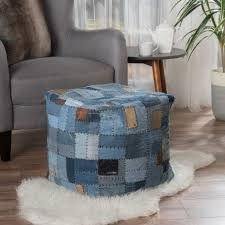 Sole Designs Ottoman by Kouture Artisan Jeans Label Patchwork Pouf The Patchwork Of