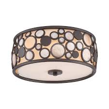Quoizel Flush Mount Ceiling Light Shop Quoizel Fairgate 14 In W Bronze Flush Mount Light At Lowes