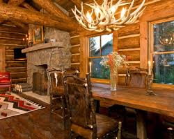log home interior designs using different stain colors on your