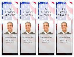 funeral program templates memorial bookmark patriotic us template