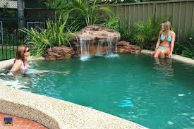 Inground Pool Designs by Inground Pools With Rock Slides Natural Swimming Pool With Water