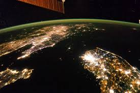 World Map At Night by The Koreas At Night Image Of The Day