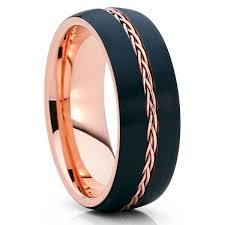 8mm gold tungsten black wedding band braid ring