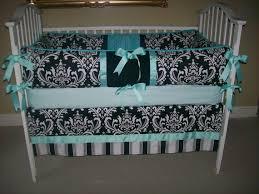 Teal Crib Bedding Sets Black Damask And Tiffany Blue 4 Piece Baby Bedding Set On Etsy