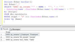 Sql Change Table Name Sql Server Mass Renaming Of Sql Tables Sql Server Portal