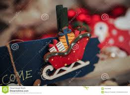 christmas tree decoration red wooden sled stock photo image