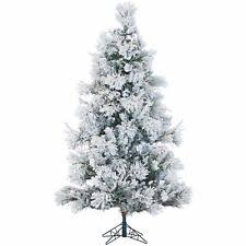 9 ft pre lit slim tree flocked snow artificial pine