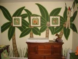 nojo palm trees and monkeys nursery wall mural painting ideas