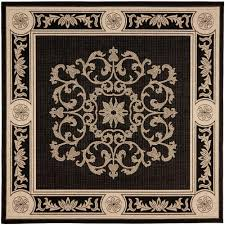 Outdoor Rug Square by Safavieh Courtyard Black Sand 6 Ft 7 In X 6 Ft 7 In Indoor