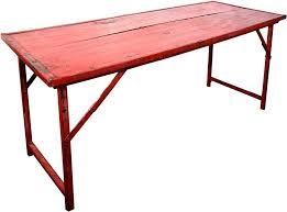 Heavy Duty Folding Table Red Vintage Wood W Heavy Duty Steel Frame Folding Table