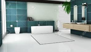 interior of contemporary bathroom design with granite tiles and